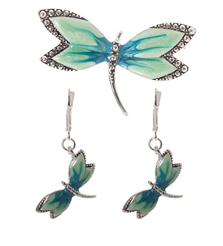 Artisan Owl - 3D Turquoise Dragonfly Pendant / Brooch Necklace and Earrings ()