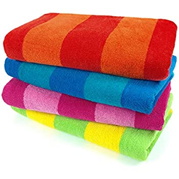 Kaufman - 100% Cotton Velour Striped Beach & Pool Towel 4-Pack - 30in x 60in