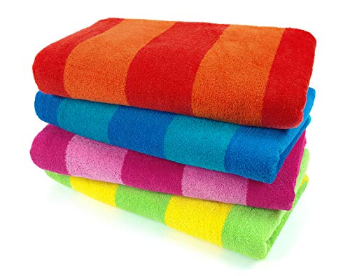 (Kaufman - 100% Cotton Velour Striped Beach & Pool Towel 4-Pack - 30in x 60in)