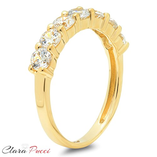 Clara Pucci s 14k Yellow Gold Brilliant Round Cut Simulated