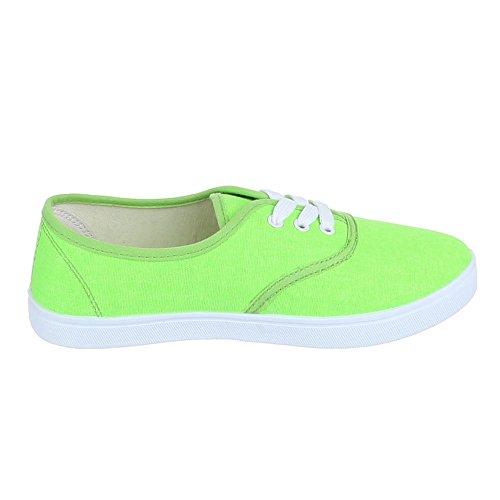Ital-Design Damen Schuhe Freizeitschuhe Schnürer Sneakers Low Top Grün