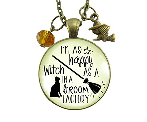 Gutsy Goodness Halloween Necklace I'm Happy Witch Broom Factory Funny Autumn Jewelry 24