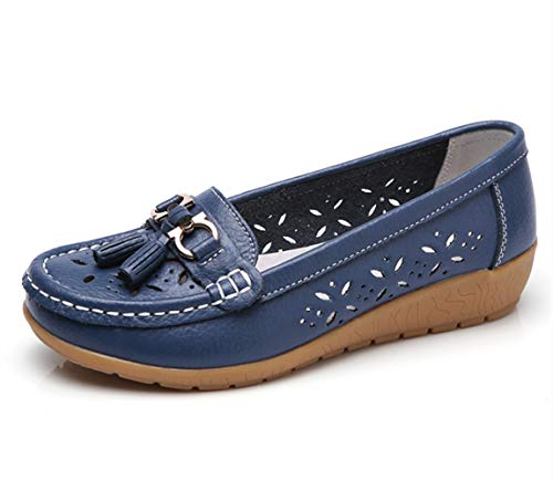 Women Loafers Leather Oxford Slip On Walking Flats Anti-Skid Boat Shoes (7.5 M US, W-Dark Blue) ()