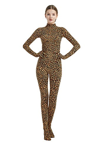 Full Bodysuit Womens Costume Without Hood Lycra Spandex Stretch Zentai Unitard Body Suit (Large, Leopard) -