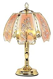 OK LIGHITNG OK-638-4P-SP3 24 in. Rose with Butterfly Brass Touch Lamp by OK Lighting