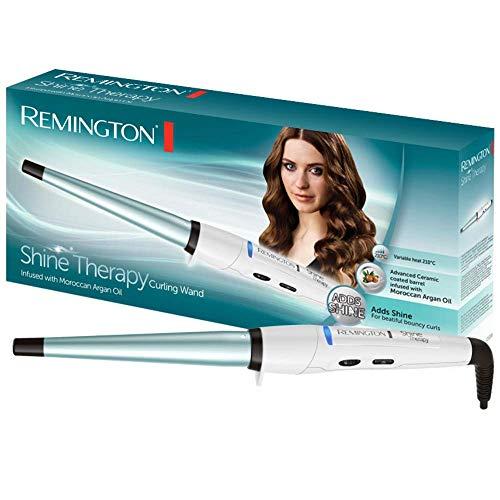 Remington Shine Therapy CI53W -Rizador de Pelo, Barril de Ceramica Avanzada con Aceite de Argan (13-25 mm), Blanco y Azul