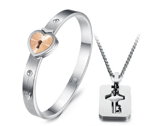 Starryinter His and Hers Korean Style Titanium Hold the Key to My Heart Forever Bangle Bracelet and Pendant - Bracelet Locking