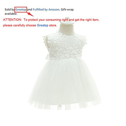 Greatop Baby Girls Dress Christening Baptism Party Formal Dress(White(Style 2),18M/15-18Month) by Greatop (Image #1)