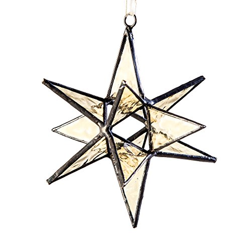 J Devlin ORN 250 Stained Glass Moravian Star Christmas Ornament or Sun Catcher Dimensional 4 1/2 x 4 1/2]()