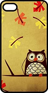 Confused Looking Owl With Falling Leaves Black Plastic Case for Apple iPhone 4 or iPhone 4s