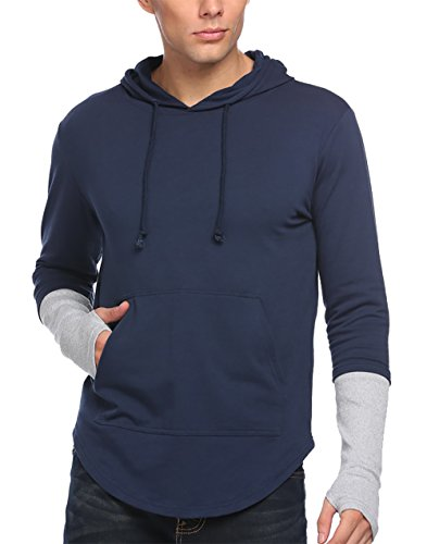 COOFANDY Men's Slim Fit Long Sleeve Casual Hoodie Sweatshirts,Active Gym Workout Bodybuilding Running Training Pullover,Large,Navy (Gangster Christmas Sweaters)