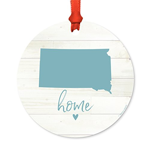 Andaz Press US State Round Metal Christmas Ornament, Rustic Light Wood Print, South Dakota Home, 1-Pack, Includes Ribbon and Gift Bag Dakota 1 Light Pendant