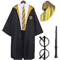 Disfraces Alegria Capa de Harry Potter + Gafas de Mago Redondos + Varita mágica de plástico + Corbata (Amarillo, 3-4…