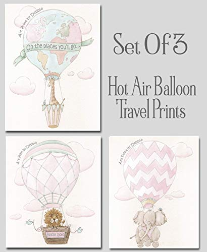 Personalized Hot Air Balloon Girls Bedroom Travel Themed Baby Nursery Prints, Set Of 3 Blush Pink Adventure Travel Wall Art, Giraffe, Elephant, Lion, Oh The Places You'll Go, 6 Sizes]()