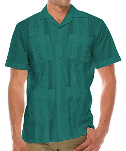 Volcan Men's Short Sleeve Cuban Guayabera Shirts (2XL, GUA01-TEA)