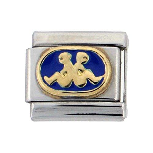 Stainless Steel 18k Gold Gemini Zodiac Sign Charm for Italian Charm Bracelets