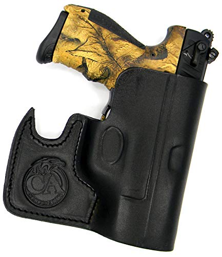 HOLSTERMART USA Ambidextrous Premium Black Leather Front Pocket Concealment Holster for Walther P22, Ruger SR22 ()