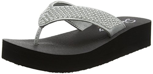 Skechers Women's Vinyasa-Beach League-Pearl/Rhinestone Flip Flop, Silver, 9 M - Flip Flops Silver Wedge