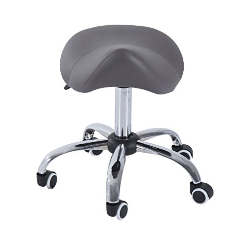 Gray Rolling Hydraulic Salon Stool Adjustable Height Swivels 360 Degrees Saddle Chair Capacity 300 Lbs by Generic