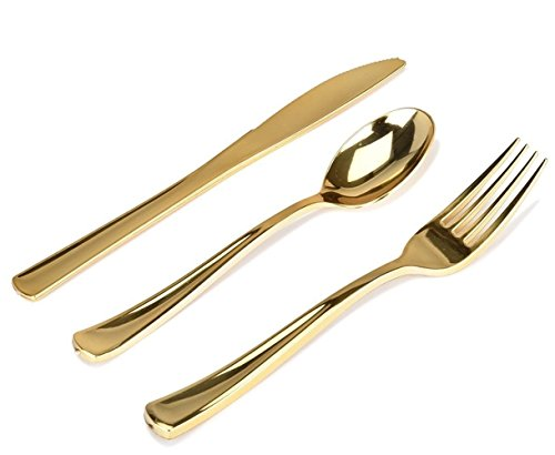 Plastic Cutlery Gold 300 Pack Disposable & Heavy Duty Plastic Silverware Set Includes 100 Forks, 100 Spoons, 100 Knives for Wedding, Parties, Catering, Restaurant & Everyday Use – Stock Your Home by Stock Your Home