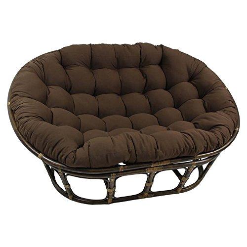 International Caravan Bali Papasan Twill Cushion Loveseat – Black