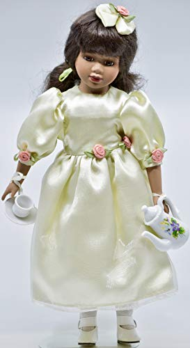 2000 - Avon - AfricanAmerican 14 Inch Doll - Teapot/Cup / Saucer - Green Gown w/Roses - Stand - Collectible
