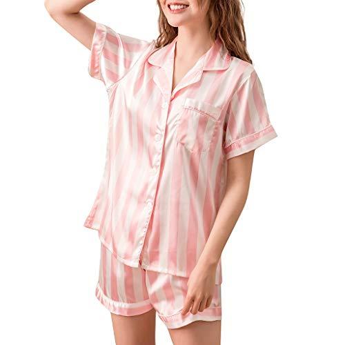 GDJGTA Nightwear Womens Sweet and Lovely Home Pajamas Classic Striped Pajamas 2pc Set Pink