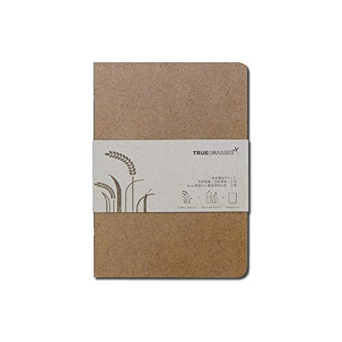 Truegrasses 5x7 Hardcover Notebook, Eco-Friendly, Flat Open, Cover : Straw + PP, Inside : Recycled Paper,cream (off-white), 70gsm, 144 Sheets, - Journal Bamboo