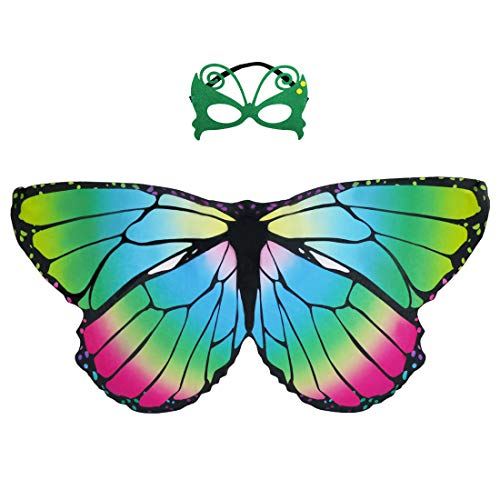 Abc Party Halloween Costumes (Kids Butterfly Wings Costume Mask for Girls Rainbow Halloween Dress Up Party (Rainbow)