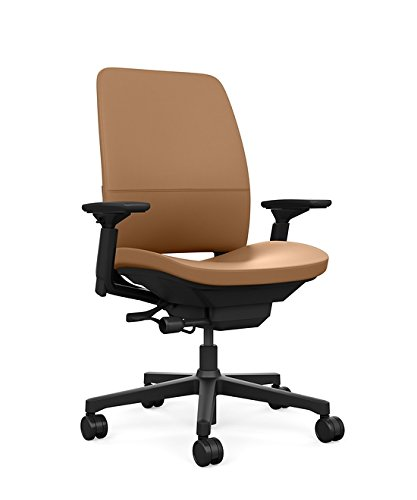 Steelcase Amia Task Chair: Black Frame/Base - 4 Way Adjustable Arms - Standard Carpet Casters (Steel Flex Swivel Chair)
