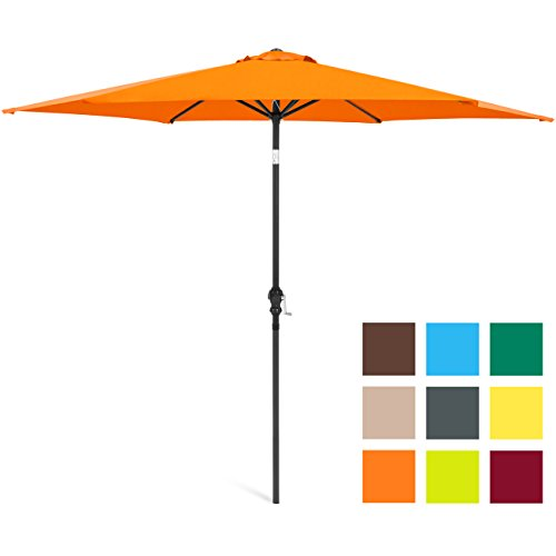 Best Choice Products 10ft Outdoor Steel Market Backyard Garden Patio Umbrella w/Crank, Easy Push Button Tilt, 6 Ribs, Table Compatible – Orange