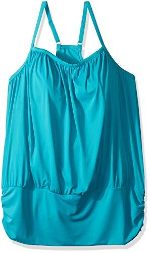 Fit 4 U Women's Plus Size Luxury Solids Fit 4 Ur Blouson Tankini Racer Back, Peppermint, 20W by Fit 4 U (Image #1)