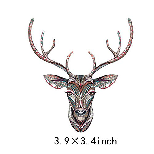 Artem Vintage Style Deer Head Stickers Thermal Transfer Appliques Iron on Patch for DIY Clothes Jacket 3.9X3.4 inch ()
