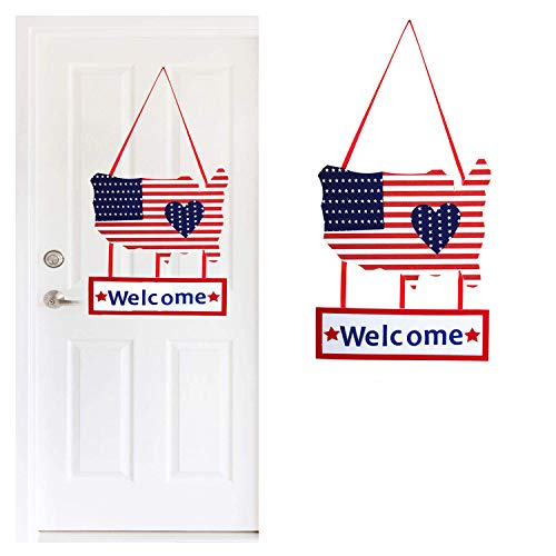 1pcs 4th of July Patriotic welcome sign - July 4th Decorations Front Door Welcome hanging - Memorial Day Decorations Independence Day Outdoor Indoor Door Decor Hanging welcome sign