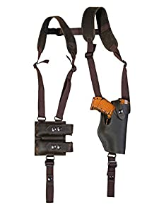 Barsony New Brown Leather Vertical Shoulder Holster w/Dbl Mag Pouch for Compact 9mm 40 45