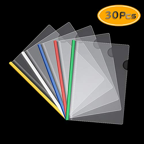 UPlama A4 Report Covers with Sliding Bar,Transparent Report Covers Folder Resume Presentation File Clear Folders Organizer School Binder for A4 Size Paper, 5 Colors 30PCS