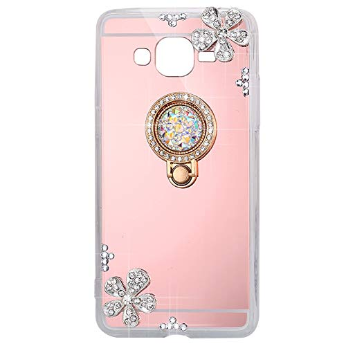 ISAKEN Samsung Galaxy Core Prime G360 Case with Ring Kickstand, 360 Degree Rotating Ring Grip Case Mirror Deign Shockproof Protection Case with Bling Diamond Rhinestone Sparkly Cover Anti-Slip Case