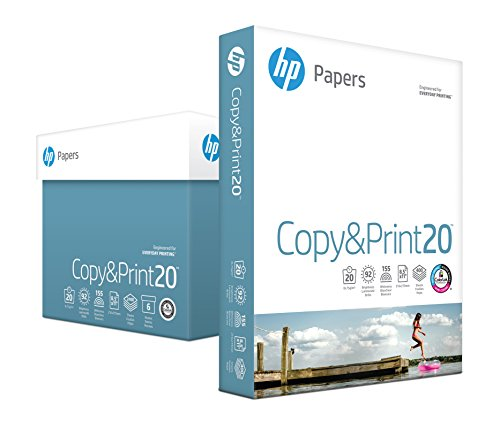 HP Printer Paper, Copy and Print20, 8.5 x 11, Letter, 20lb, 92 Bright, 2,400 Sheets / 6 Ream Carton (200010C) Made In The ()