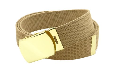 - Canvas Web Belt Military Style with Brass Buckle and Tip 54