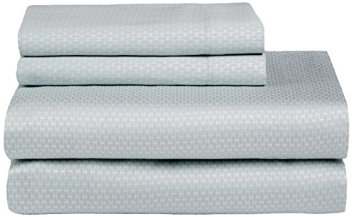 Calvin Klein Home Nightingale Silver Net Sheet Set, Queen, Sea (Calvin Klein Fitted Sheet)