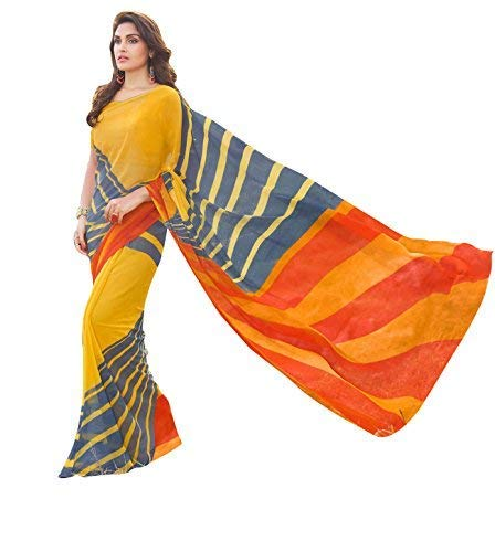 Craftsvilla Womens Georgette Printed Yellow Saree with Blouse Piece ()