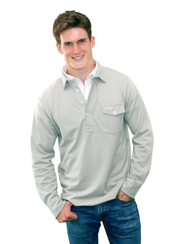 Criquet Shirts Men's Long Sleeve Players Shirt Small Sage Grey