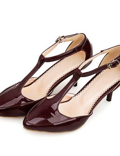 LFNLYX Chaussures Femme-Habillé / Décontracté-Noir / Gris / Beige / Bordeaux-Kitten Heel-D'Orsay & Deux Pièces / Bout Pointu-Sandales-Cuir Verni , black , us8.5 / eu39 / uk6.5 / cn40