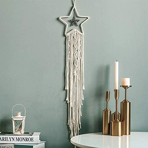 Jiur Star Dream Catcher Handmade for Bedroom Decor Macrame Wall Hanging Bohemian Home Decoration Gifts for Teenage Girls