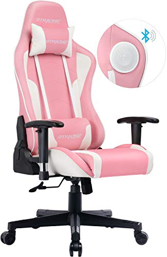 GTRACING Gaming Chair with Speakers Pink Cherry Blossom 【Limited Edition】 Girl Power Bluetooth Music Video Game Chair Audio Heavy Duty Computer Desk Chair GT890M Sakura Pink (Cherry Chair Desk)