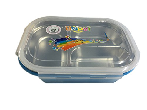 Ospard Stainless Steel Food Container Lunch box Bento Box With BPA Free PP Plastic Shell 3 Compartment Blue (Freezing Anime Box Set compare prices)