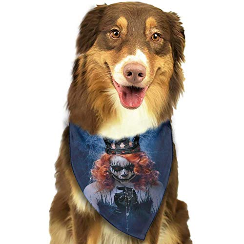 Pet Dog Scarf Queen Queen of Death Scary Body Art Halloween Evil Face Bizarre Make Up Zombie W27.5 xL12 Scarf for Small and Medium Dogs and Cats -