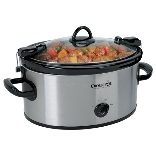 Crock-Pot 6-Quart Cook & Carry Oval Manual Portable Slow Cooker, Stainless Steel