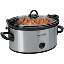 Crock-Pot SCCPVL600S Cook' N Carry 6-Quart Oval Manual Portable Slow Cooker, Stainless Steel