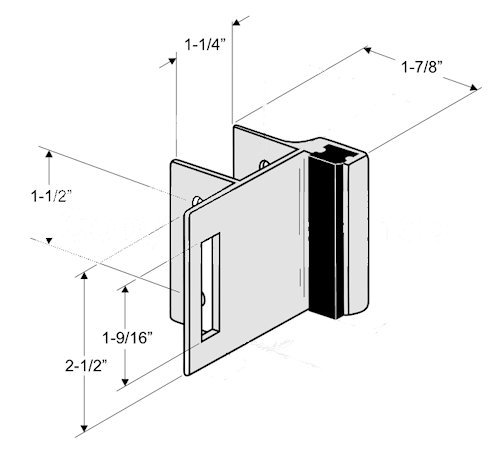 Chrome Plated Zamac Strike & Keeper for Slide Latch for Restroom Partition Door - Inswing - for 1-1/4''Square Edge Pilasters